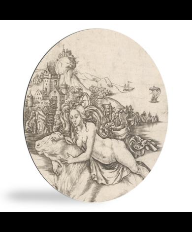 Ontvoering van Europa op rug van Jupiter in gedaante van stier - Schilderij van Meester IB met de vogel wandcirkel