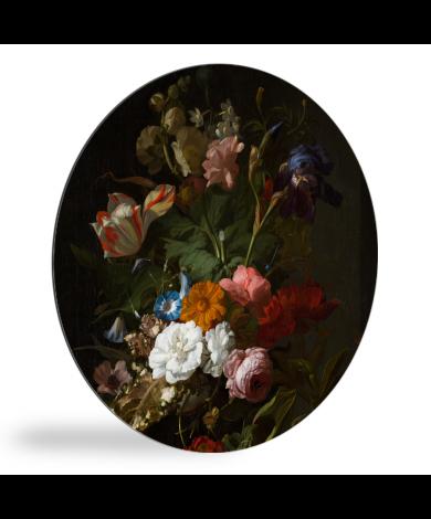 Vaas met bloemen - Schilderij van Rachel Ruysch wandcirkel