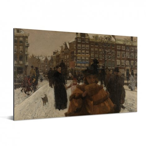 De Singelbrug bij de Paleisstraat in Amsterdam - Schilderij van George Hendrik Breitner Aluminium