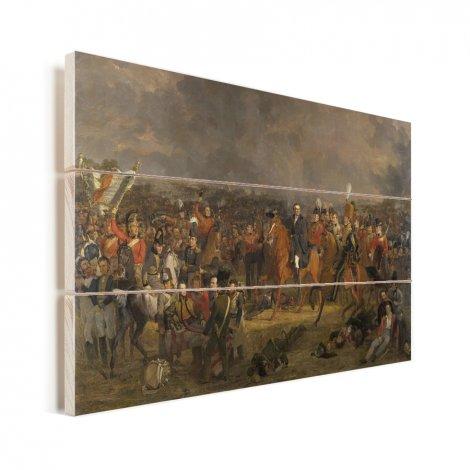 De Slag bij Waterloo - Schilderij van Jan Willem Pieneman Vurenhout met planken