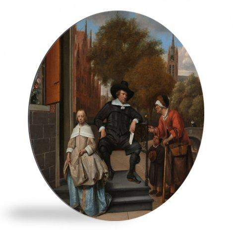 De burgemeester van Delft en zijn dochter - Schilderij van Jan Steen wandcirkel