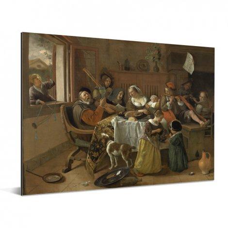 Het vrolijke huisgezin - Schilderij van Jan Steen Aluminium