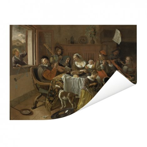 Het vrolijke huisgezin - Schilderij van Jan Steen Poster