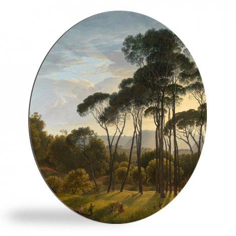Italiaans landschap met parasoldennen - Schilderij van Hendrik Voogd wandcirkel