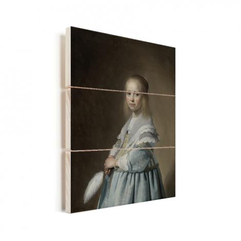Portret van een meisje in het blauw - Schilderij van Johannes Cornelisz Verspronck Vurenhout met planken