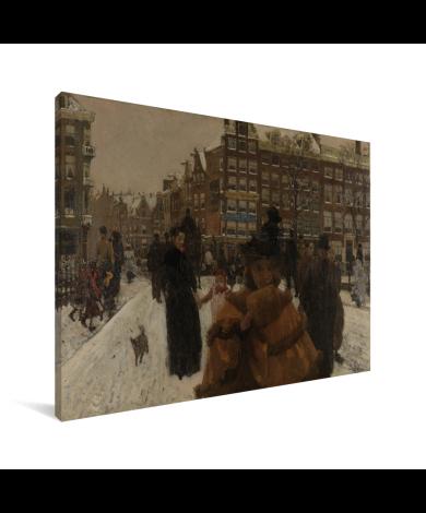 De Singelbrug bij de Paleisstraat in Amsterdam - Schilderij van George Hendrik Breitner Canvas