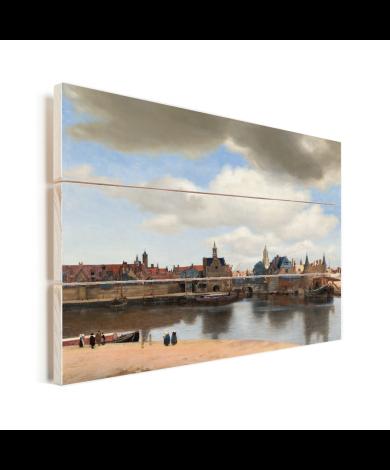 Gezicht op Delft - Schilderij van Johannes Vermeer Vurenhout met planken