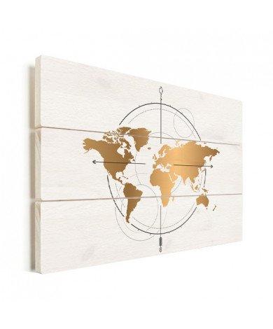 Kompas groot goud hout