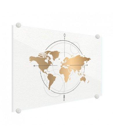 Kompas groot goud plexiglas