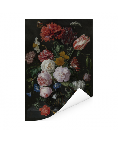 Stilleven met bloemen in een glazen vaas - Schilderij van Jan Davidsz de Heem Poster