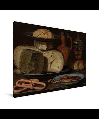 Stilleven met kazen amandelen en krakelingen - Schilderij van Clara Peeters Canvas