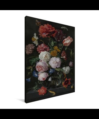 Stilleven met bloemen in een glazen vaas - Schilderij van Jan Davidsz de Heem Canvas