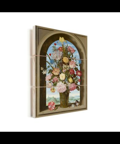 Vaas met bloemen in een venster - Schilderij van Ambrosius Bosschaert de Oude Vurenhout met planken