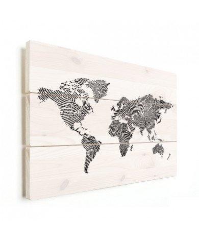 Vingerafdruk - zwart wit hout