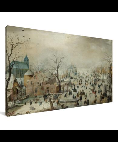 Winterlandschap met ijsvermaak - Schilderij van Hendrik Avercamp Canvas