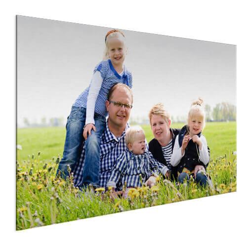 gezinsfoto op aluminium