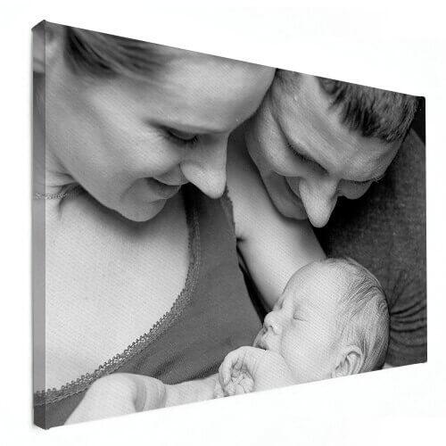 gezin met baby op canvas
