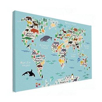 Kinderwereldkaart op canvas afdrukken