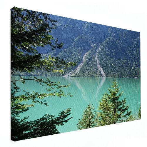 bergen en water op canvas